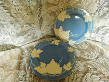 8 Vintage  Blue Pacific Hand Painted Pottery Plates with White Grape Pattern ~