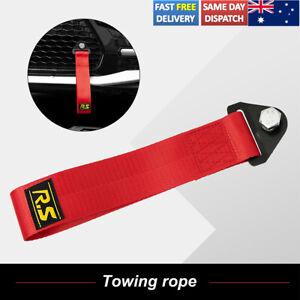 Red Car Tow Towing Strap Belt Racing Sport Drift Rally Hook Universal Bolt+Nut