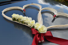wedding car decoration ribbon bows prom decoration ivory red hearts