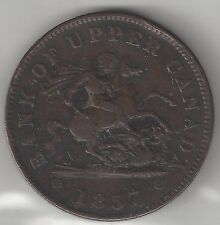 BANK OF UPPER CANADA, 1857, PENNY TOKEN, COPPER, KM#Tn3, *RE-ENGRAVED* E G J S
