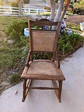 CHILDS ANTIQUE VICTORIAN ROCKING CHAIR OAK W/ CANE BACK AND SEAT