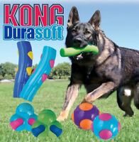 Kong DuraSoft - Dog Puppy Rubber Fetch Toy - Squeaky Durable Bouncy & It Floats