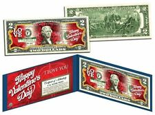 Happy Valentine'S Day Keepsake Gift $2 Bill Usa Legal Tender with Folio & Coa