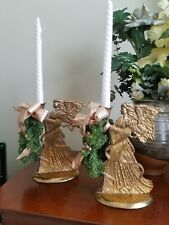 """Brass Angel Candle Holder Large Solid Metal Gold Color Attached Base 9"""" x 6"""""""