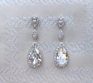 Silver Cubic Zirconia Bridal Water Drop Earrings Wedding Jewellery