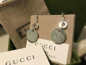 Gucci Sterling Silver Trademark Round Drop Earrings New