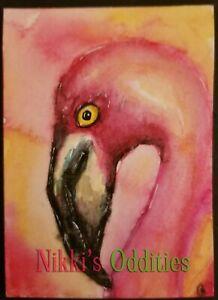 ACEO Stunning Pink Flamingo Bird Original Watercolor Painting Art Nikki C