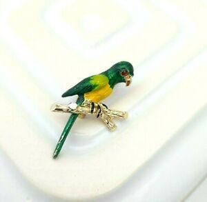 Vintage Parrot Brooch Bird Lapel Pin Enamel Costume Jewellery