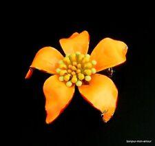 Designer ART sign. abtrakte gelb-orange emaillierte Blüten Brosche Brooch Broche