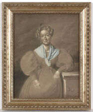 "Ernst Kietz (1815-1892)-Attrib. ""Portrait of a lady"", chalk drawing, 1830s"