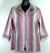 Essentials Milano Womens Shirt Size Medium Purple White Striped Top