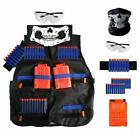 Nerf Vest Kids Tactical Foam Darts Mask Glasses Kit Set For Nerf N-Strike Gun