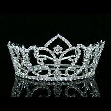 "3"" Tall Full Crown Bridal Pageant Queen Rhinestone Crystal Wedding Tiara 8196"