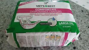 Vet's Best Comfort-Fit Disposable Diapers, Female, Size Large/XL, 12 Diapers