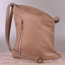 Tasche Handtasche Echt Leder Schultertasche Umhängetasche Ledertasche Beige NEU