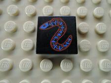 Lego 1 x Fliese 3068px12 schwarz 2x2 bedr. rot blau Aal 6441 6559 1782
