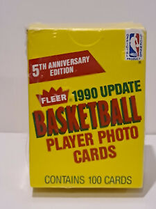 1990 Fleer NBA Fifth Anniversary 100 Card Box (Update) New & Factory Sealed