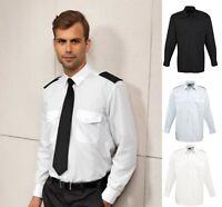 Mens LONG Sleeve Pilot Security Shirt Business Work Smart Formal Uniform PR210