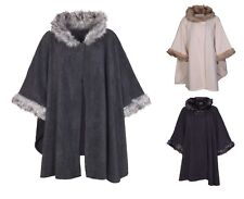 New Womens Ladies Faux Fur Collar Fleece Cape Shawl Cloak Poncho Coat Size 10-20