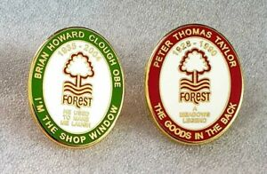 Nottingham Forest Cloughie🟢⚪ & Taylor 🔴⚪ Pin Badge Set of 2