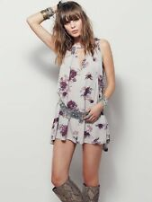 Free People Bohemian Boho Faded Floral Sleeveless Swing Tunic Dress S 10 38