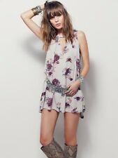 Free People Bohemian Boho Faded Floral Sleeveless Swing Tunic Dress S 10 38 New
