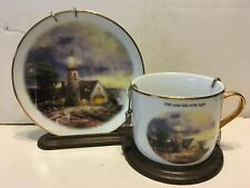 Thomas Kinkade A Light In The Storm Cup & Saucer Set Lighthouse w/Stand holder