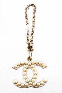 Chanel Womens CC Logo Faux Pearl Key Chain Gold Tone