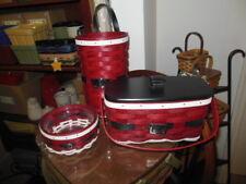 Longaberger (3) Santa Belly Basket Sets: Bag It  Medium Key Jolly Belly