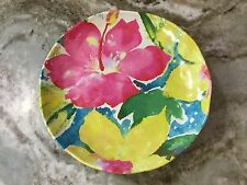 Nicole Miller Melamine Dessert Plates. Colorful Abstract Flowers. Set Of 6. New.
