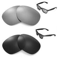 Walleva Polarized Titanium + Black Lenses For Ray-Ban Wayfarer RB2132 55mm