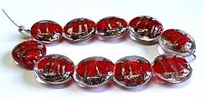 """10 x HANDMADE LAMP WORK GLASS BEADS, """"RED AND GOLD SAND""""  ENCASED LENTIL BEADS"""