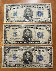 Qty(3) 1934A SERIES FIVE DOLLAR SILVER CERTIFICATE NOTES ~