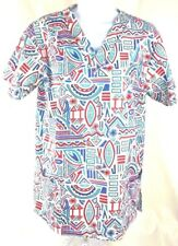 White Swan Women's Scrub Top Small Red White Blue Short Sleeve Pullover