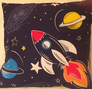 Space glow in the dark Rockets Planets  Dark Blue Handmade Cushion Cover 16 inch