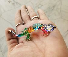 Hand Gecko Lizard Blown Glass Figurine Animal Gift Decorate Collectible Painted