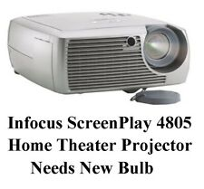 Infocus Screenplay 4805 Home Theater Projector, Needs Replacement Bulb, Used