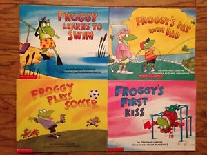 Scholastic Froggy Books Lot of 4 Learns 2 Swim, Day w/Dad, Plays Soccer,1st Kiss