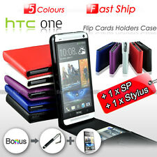 NEW Premium Leather Flip Wallet Cards Holders Case Cover For HTC ONE M7 810e
