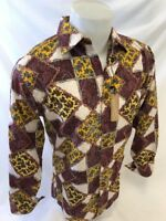 Mens VERONELLI SILKY LONG SLEEVE BUTTON UP Shirt BURGUNDY FANCY PAISLEY COLOR