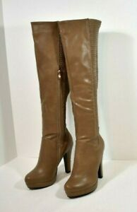 Luichiny Play 2 Win Taupe Leatherette Heel Knee Boot Stretch Panel  SIZE 7 M