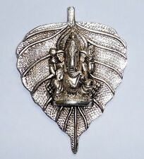 **Beautiful** Silver Coloured Ganesh Leaf Hindu God Metal Wall Plaque 13.7cm