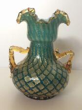 "Murano Barovier Green Gold Glass Vase 8"" Tall"