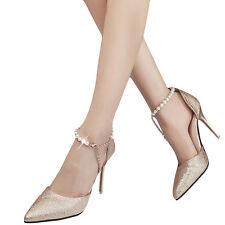 Neu Damen Abendschuhe Wulst Kette Stilettos Pumps High Heels Schuhe Sandaletten