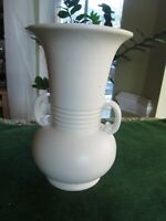 """Pottery Vase Haeger Classic Urn Handled Ribbed 8.25"""" Vintage Mid 20th Century VG"""