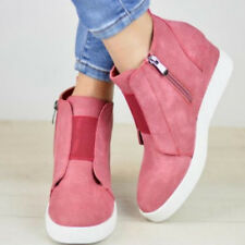 Womens Hidden Wedge Low Mid Heel Ankle Boots Sneakers Zip up Trainers Shoes Size