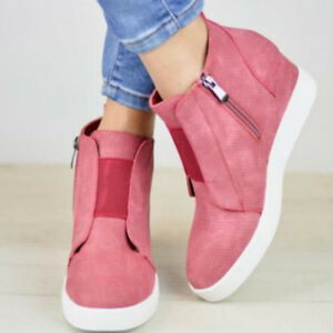 Hidden Wedge Mid Heel Ankle Boots Sneakers Trainers High WomenTop Shoes Size