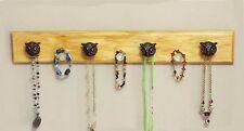 "Handmade Necklace Hanger ""Wood""- Burnt Umber ""Weathered Look"" Owl Decor Knobs"