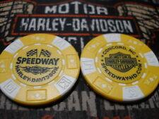Harley Yellow & White Poker Chip Speedway Harley Davidson Concord, NC