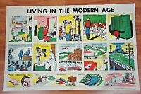 Vintage 1950's Living in the Modern Age Poster Great Mid Century Graphics 22x35